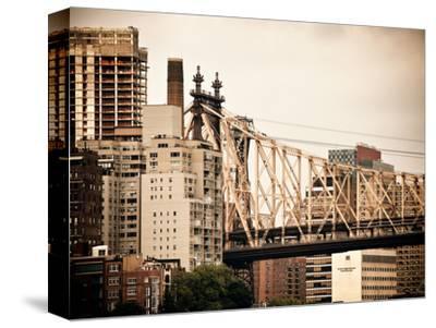 Ed Koch Queensboro Bridge, Roosevelt Island Tram Station, Manhattan, New York, Vintage-Philippe Hugonnard-Stretched Canvas Print