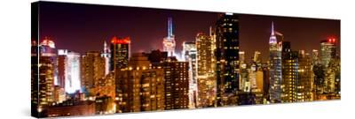 Panoramic View of Skyscrapers of Times Square and 42nd Street at Night-Philippe Hugonnard-Stretched Canvas Print