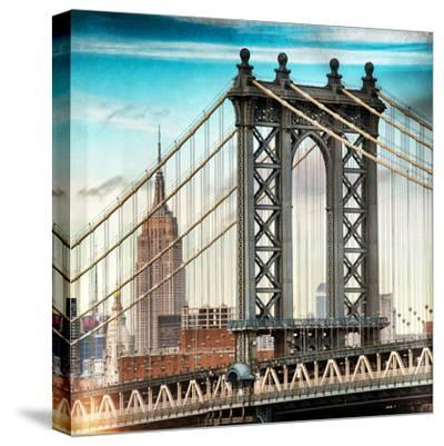 Instants of NY Series - Manhattan Bridge with the Empire State Building from Brooklyn Bridge-Philippe Hugonnard-Stretched Canvas Print