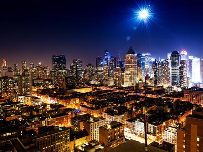 Landscape by Night of Manhattan-Philippe Hugonnard-Stretched Canvas Print