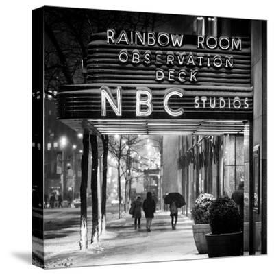 The NBC Studios in the New York City in the Snow at Night-Philippe Hugonnard-Stretched Canvas Print