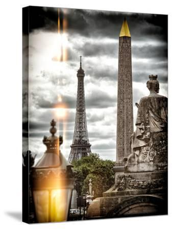 Instants of Series - Place de la Concorde with Obelisk and Eiffel Tower View - Paris, France-Philippe Hugonnard-Stretched Canvas Print
