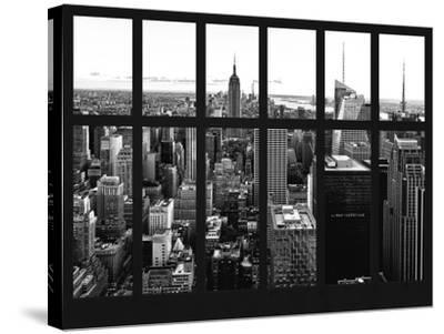 Window View - Skyline of Manhattan with the Empire State Building - Times Square - NYC-Philippe Hugonnard-Stretched Canvas Print
