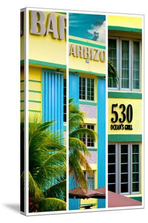 Triptych Collection - Art Deco Architecture - Ocean Drive - Miami Beach - Florida-Philippe Hugonnard-Stretched Canvas Print