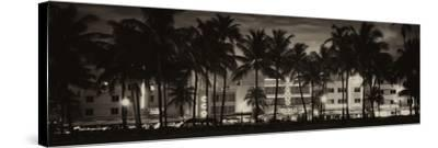 Buildings Lit Up at Dusk - Ocean Drive - Miami Beach-Philippe Hugonnard-Stretched Canvas Print