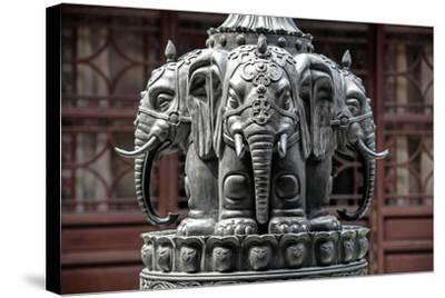 China 10MKm2 Collection - Detail Buddhist Temple - Elephant Statue-Philippe Hugonnard-Stretched Canvas Print