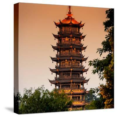 China 10MKm2 Collection - Pagoda at dusk-Philippe Hugonnard-Stretched Canvas Print