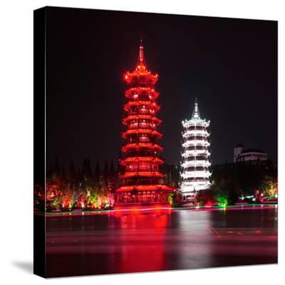 China 10MKm2 Collection - Sun & Moon Twin Pagodas-Philippe Hugonnard-Stretched Canvas Print