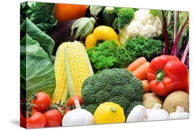 Close up of Fresh Raw Organic Vegetable Produce, Assortment of Corn, Peppers, Broccoli, Mushrooms,-warrengoldswain-Stretched Canvas Print