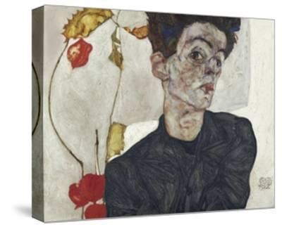 Self-Portrait with Chinese Lantern Plant-Egon Schiele-Stretched Canvas Print