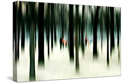 Silhouettes of People Between Trees-Bastian Kienitz-Stretched Canvas Print