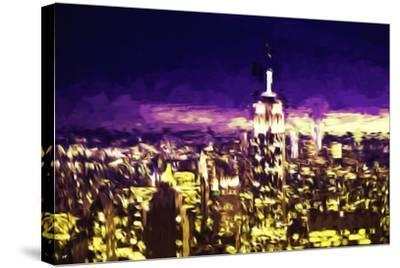 NYC Purple Sunset II - In the Style of Oil Painting-Philippe Hugonnard-Stretched Canvas Print
