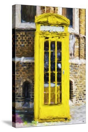 Yellow Phone Booth - In the Style of Oil Painting-Philippe Hugonnard-Stretched Canvas Print