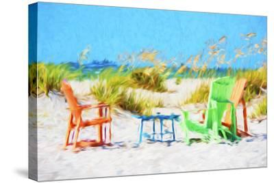 Beach Chairs - In the Style of Oil Painting-Philippe Hugonnard-Stretched Canvas Print