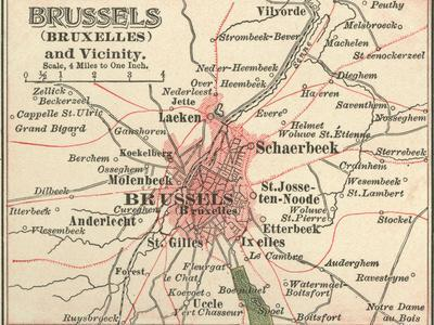 Map of Brussels (C. 1900), Maps-Encyclopaedia Britannica-Stretched Canvas Print