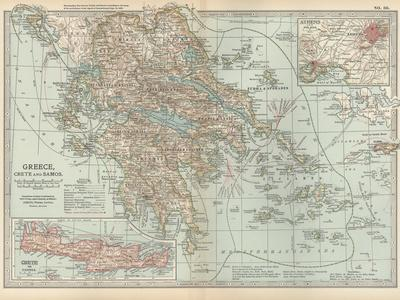 Plate 36. Map of Greece-Encyclopaedia Britannica-Stretched Canvas Print