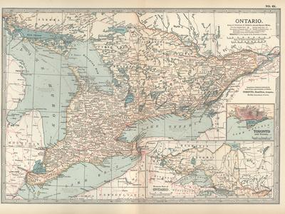 Map of Ontario, Canada. Insets of Toronto and Western Part of Ontario-Encyclopaedia Britannica-Stretched Canvas Print