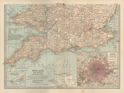 Plate 5. Map of England and Wales-Encyclopaedia Britannica-Stretched Canvas Print