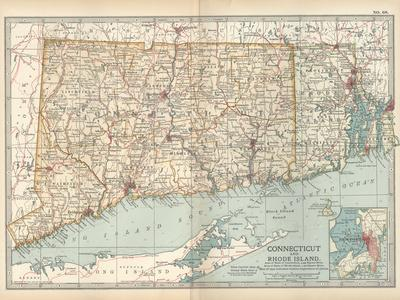 Plate 68. Map of Connecticut and Rhode Island-Encyclopaedia Britannica-Stretched Canvas Print