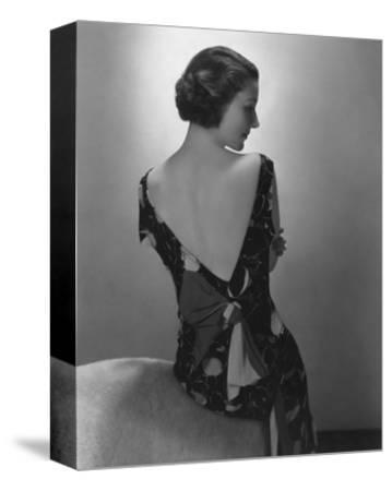 Vogue - February 1934 - Model in Printed Dress with Low-Cut Back-Edward Steichen-Stretched Canvas Print