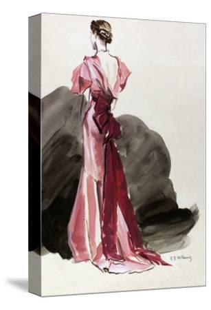 Vogue - October 1934 - Red Vionnet Evening Gown-Ren? Bou?t-Willaumez-Stretched Canvas Print