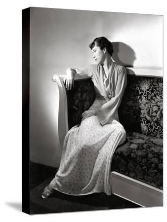 Madame Jean Bonnardel Wearing a Silky Print Dress with Jacket by Vionnet and Grecian Sandals--Stretched Canvas Print