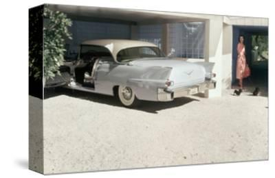 Pale Blue Cadillac Eldorado Seville in Garage--Stretched Canvas Print