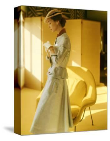 Model Wearing a Gold Silk Taffeta Velvet Buttoned Suit--Stretched Canvas Print