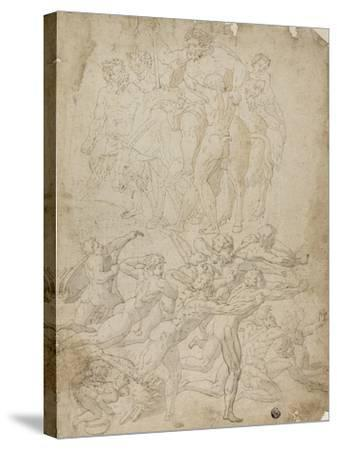 Archers Shooting at a Herm, Triumph of Bacchus, and Other Studies- Michelangelo & Perino del Vaga-Stretched Canvas Print