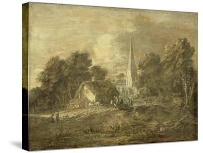 Wooded Landscape with Village Scene, Early 1770-72-Thomas Gainsborough-Stretched Canvas Print