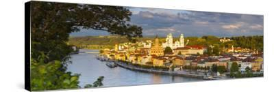 Elevated View Towards the Picturesque City of Passau Illuminated at Sunset, Passau, Lower Bavaria-Doug Pearson-Stretched Canvas Print