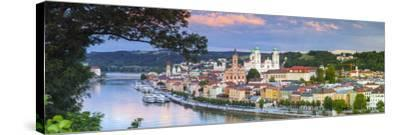 Elevated View Towards the Picturesque City of Passau at Sunset, Passau, Lower Bavaria-Doug Pearson-Stretched Canvas Print