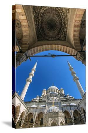 Inner Courtyard Low Angle View of Yeni Cami or New Mosque, Istanbul, Turkey-Stefano Politi Markovina-Stretched Canvas Print