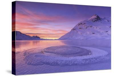 Lake Bianco at Bernina Pass. Canton of Graubunden. Engadine. Switzerland. Europe-ClickAlps-Stretched Canvas Print