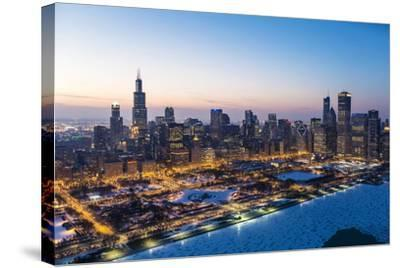 Usa, Illinois, Chicago. Aerial Dusk View of the City and Millennium Park in Winter.-Nick Ledger-Stretched Canvas Print