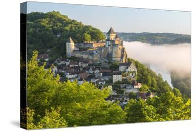 Early Morning Mist, Chateau De Castelnaud, Castelnaud, Dordogne, Aquitaine, France-Peter Adams-Stretched Canvas Print