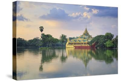 Myanmar (Burma), Yangon (Rangoon), Shwedagon Paya (Pagoda), Karaweik Hall and Kandawgyi Lake-Michele Falzone-Stretched Canvas Print
