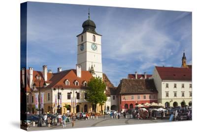 Romania, Transylvania, Sibiu, Piata Mica Square and Council Tower-Walter Bibikow-Stretched Canvas Print