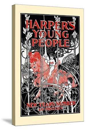 Harper's Young People, New Year's Number-Will Bradley-Stretched Canvas Print