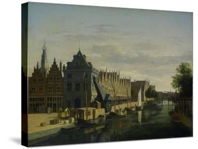 View the Waag at the Spaarne in Haarlem-Gerrit Adriaensz Berckheyde-Stretched Canvas Print