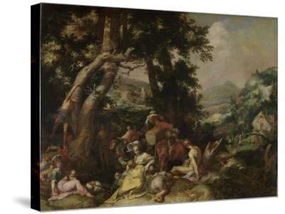Preaching of Saint John the Baptist-Abraham Bloemaert-Stretched Canvas Print