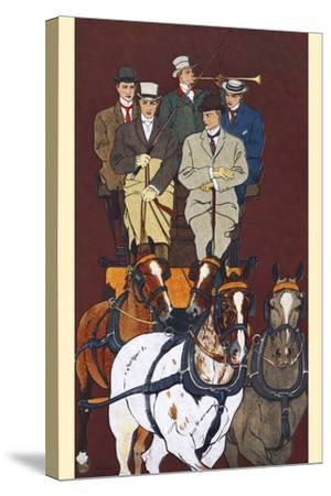 Five Men Riding in a Carriage Drawn by Four Horses-Edward Penfield-Stretched Canvas Print