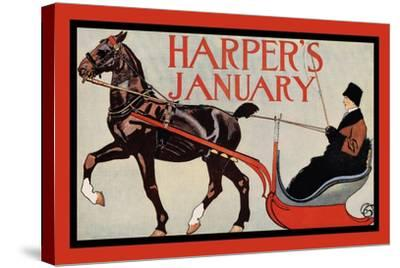 Harper's January-Edward Penfield-Stretched Canvas Print