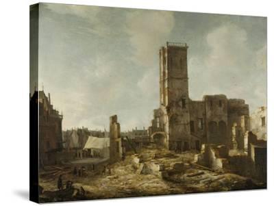Ruins of the Old Town Hall of Amsterdam after the Fire of 7 July-Jan Abrahamsz. Beerstraten-Stretched Canvas Print