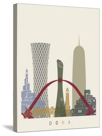 Doha Skyline Poster-paulrommer-Stretched Canvas Print