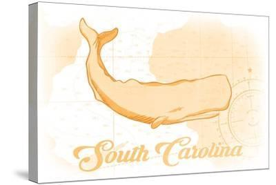 South Carolina - Whale - Yellow - Coastal Icon-Lantern Press-Stretched Canvas Print