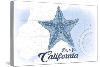 Big Sur, California - Starfish - Blue - Coastal Icon-Lantern Press-Stretched Canvas Print