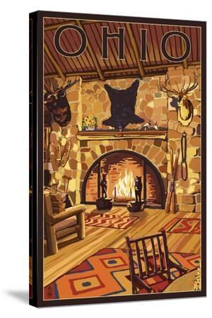 Ohio - Lodge Interior-Lantern Press-Stretched Canvas Print