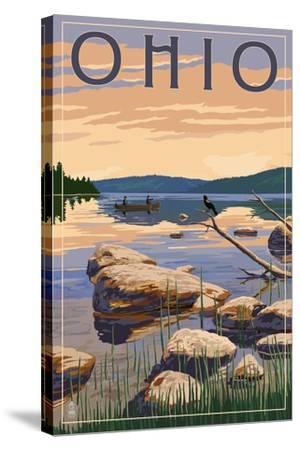 Ohio - Lake Sunrise Scene-Lantern Press-Stretched Canvas Print