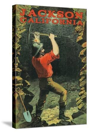Jackson, California - Miner-Lantern Press-Stretched Canvas Print